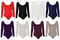 Womens Long Sleeve Leotard Bodysuit Stretch Body Top Tshirt UK 8-28