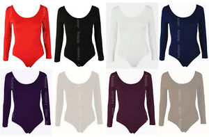 Womens-Long-Sleeve-Leotard-Bodysuit-Stretch-Body-Top-Tshirt-UK-8-28