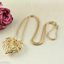 N5 Gold Plated Hollow Heart filled with Crystals Long Sweater Necklace