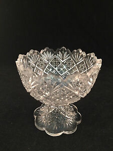 Scalloped-Footed-Glass-Dish-Bowl-4-034-Tall-4-034-Diameter