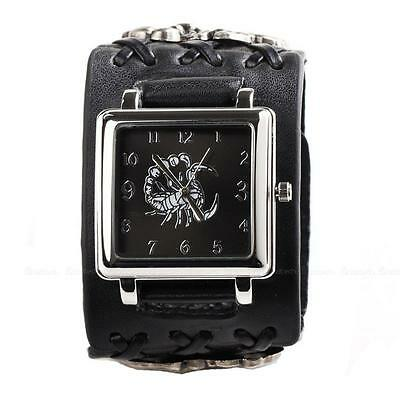NEW Punk Rock Scorpion Women Men Unisex Leather Band Bracelet Cuff Wrist Watch
