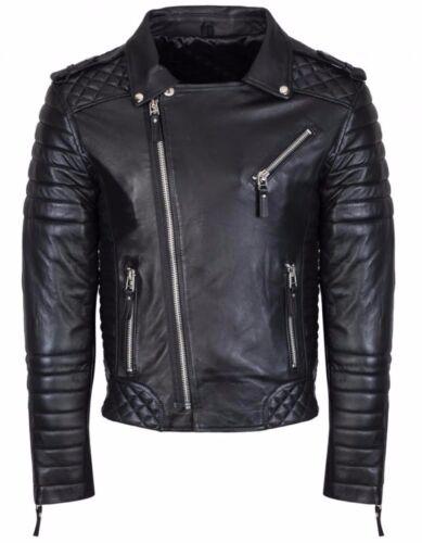 chaqueta de piel negro hombre Biker Elegante de de cuero genuino motocicleta cordero para estilo con de 4dwfqdA8H