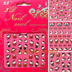 Nail-Art-Stickers-Pretty-Hello-Kitty-3D-With-Glitter-New-Style-Cute-New-1