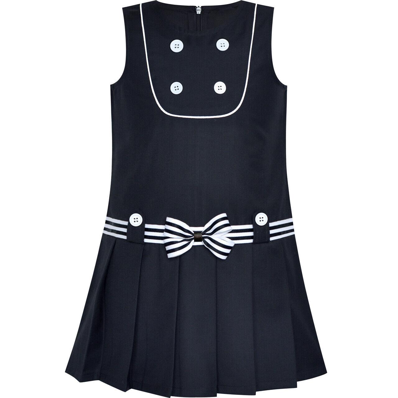 Sunny Fashion Girls Dress V Neck Pleated Hem School Size 6-14