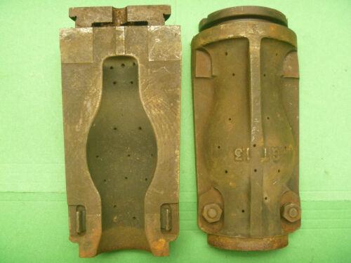 2 Piece Cast Iron Foundry Obsolete Incandescant Light Bulb Mold Blown Tubular