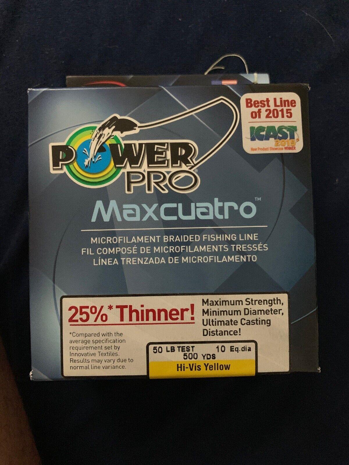 Power Pro Maxcuatro 50lb 500yards Hi Vis Yellow