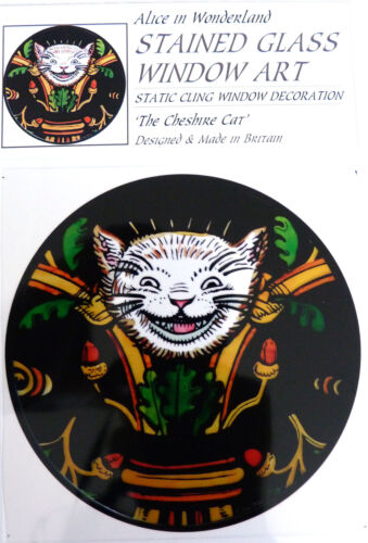 THE CHESHIRE CAT STAINED GLASS WINDOW ART STATIC CLING ALICE IN WONDERLAND