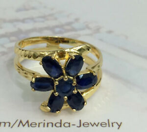 Small Flower Ring Cluster Created Pink CZ Crystals 14k Yellow Gold