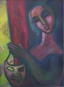Junge-Frau-mit-Maske-grosser-Expressionist-um-1930