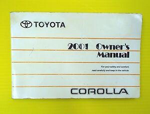 Corolla 01 2001 Toyota Owners Owner U0026 39 S Manual Sedan
