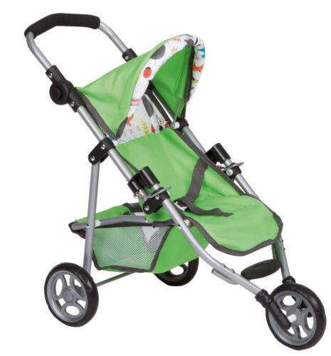 Puppenwagen Puppen & Zubehör Puppenwagen Puppenbuggy Sport Jogger mit 3 Räder grün Circle NEU 228488