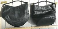 Bucket Style Faux Leather Purse Bag Tote Black Or Burgundy Braided Detail