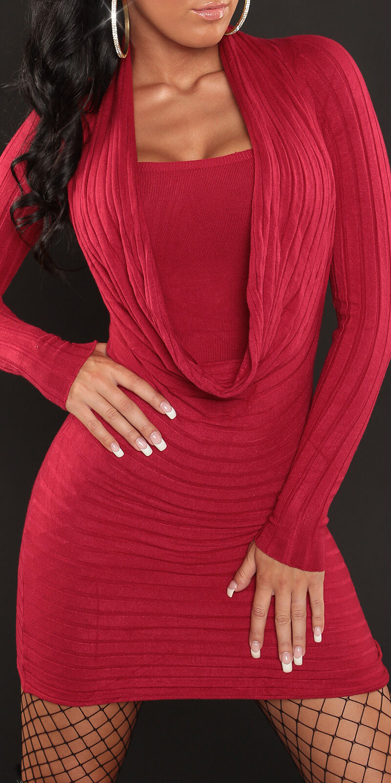 NEW SEXY RIBBED KNIT MINI DRESS LONG JUMPER SWEATER CASHMERE SILK 6 8 10 EVENING