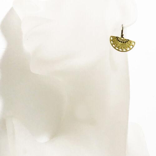Lucky Brand Gold Tone Tribal Mini Fan Drop Earrings