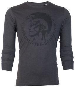DIESEL-Mens-LONG-SLEEVE-T-Shirt-ACHEL-Mohawk-CHARCOAL-Casual-Designer-Jeans-68