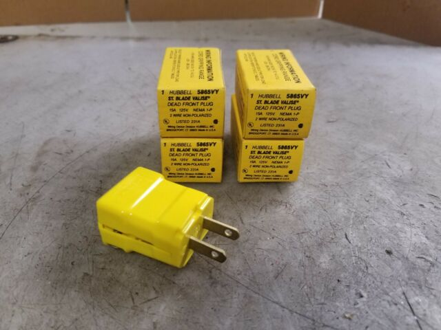4  New Hubbell 15 Amp Dead Front Plug 125 Vac 2 Wire Non