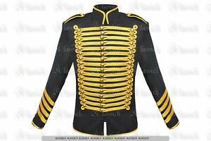 Men-039-s-Steampunk-Military-Golden-Trim-Style-Hussar-Parade-Gothic-Jacket