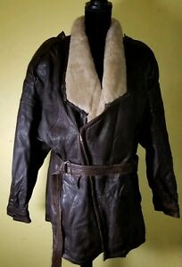 Marc-Buchanan-Brown-Leather-Shearling-Collared-Bomber-For-Tannery-West-Size-42