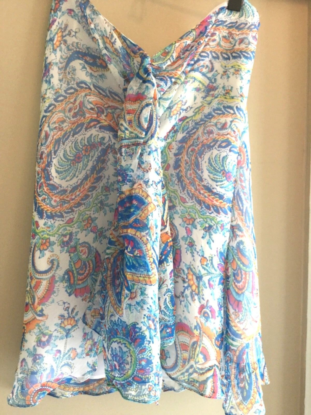 Ralph Lauren SILK ruffle halter blouse top Tunic Weiß  Blau  multi paisley L