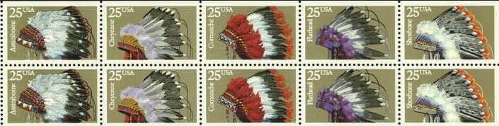 1990 25c Indian Head Dresses, Booklet Pane of 10 Scott
