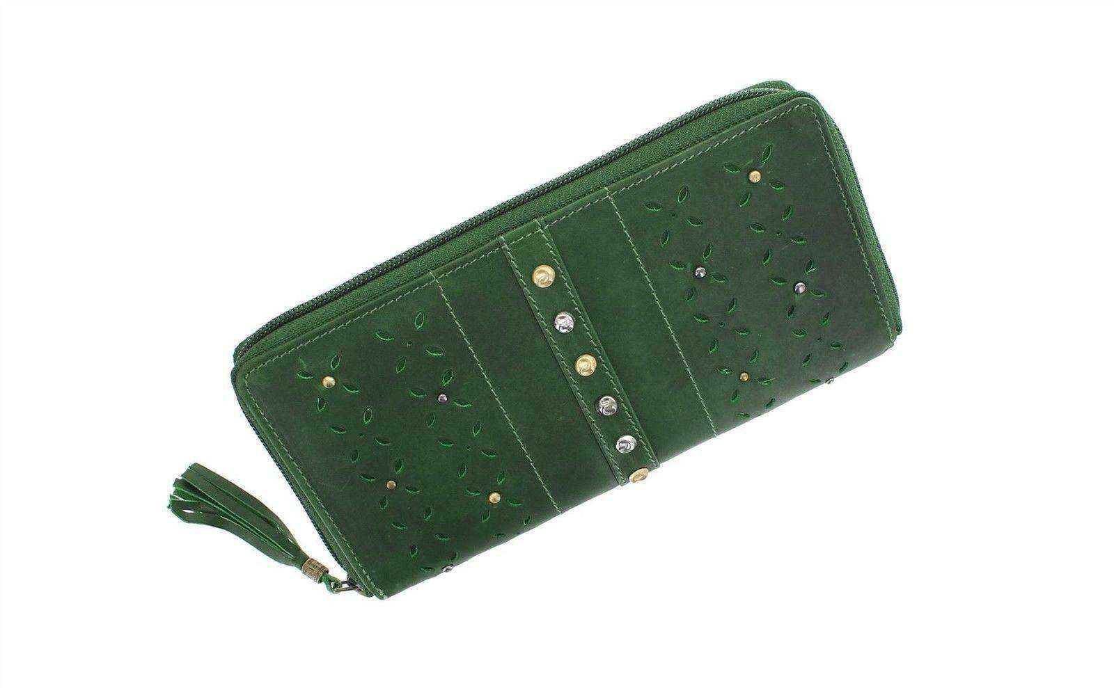 Mala Leather Zulu Traditional Zip Purse Wallet Green Red Tan RFID Protection