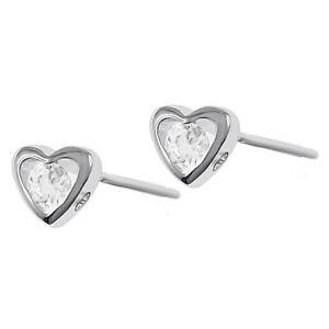 PAIRE de BOUCLES d'oreilles Coeur en Argent rhodié et Swarovski® Zirconia -Femme
