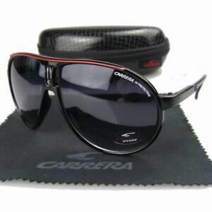 New Men Women Retro Sunglasses Square White/&Red line Frame Carrera Glasses+Box
