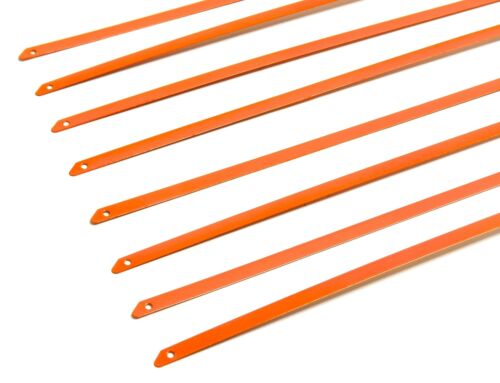 """QTY 12 8/"""" UNIVERSAL STAINLESS STEEL ZIP TIE CABLE FOR EXHAUST HEADER WRAP ORANGE"""