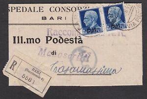 ITALIA-REGNO-coppia-1-25-lire-P-M-su-raccomandata-da-bari-a-Casamassima