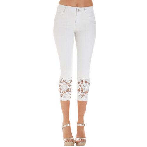 Damen Sommerhose 3//4 Capri Jeans Spitze Capri Bermuda Stretch Hüftjeans Röhren