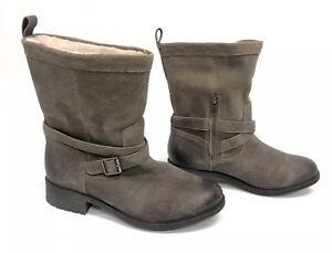 26a89ae9347 Details about UGG Australia GLENDALE WOMEN'S SHORT BOOTS LEATHER Dove Grey  Gray 1095152