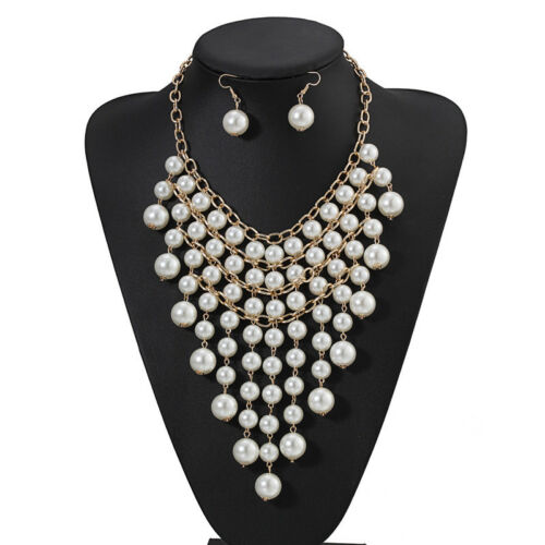 Fashion Women/'s multi-couche chaîne perles Chunky Choker Statement Bib Collier