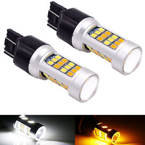 2X-3157-7443-CREE-White-Amber-Dual-Color-Switchback-LED-Turn-Signal-Light-Bulbs