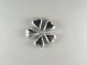 CHOCOLATE-FOIL-HEARTS-Silver-450g-WEDDING-FAVOURS