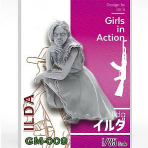 1-35-ILDA-girls-in-action-Resin-Model-Kits-non-peinte-GK-non-assemble