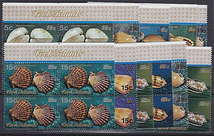 COOK IS 1978 Shells definitive overprint set MNH blocks of 4................B112