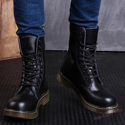 Men High Top Motor Combat Oxfords Leather Military Army Desert Ankle Boots Shoes