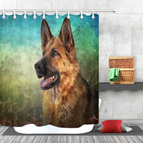 German Shepherd Dog Animal Polyester Fabric Shower Curtain Bathroom Waterproof