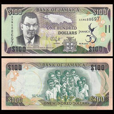 JAMAICA 100 DOLLARS 50TH COMM INDEPENDENCE 2012 P 90 UNC