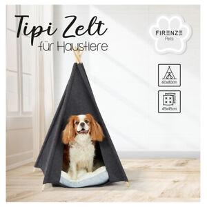 Haustierzelt-Hundezelt-Katzen-Tipi-Zelt-Haus-Bett-Hoehle-mit-Kissen-grau-60-x-80
