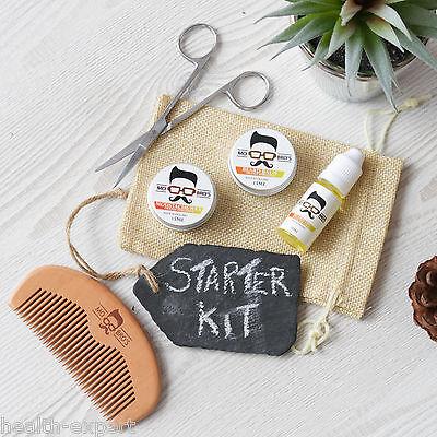 Mo Bro's Orange Grooming Kit- Moustache Wax, Beard Balm, Oil, Comb, Gift Bag