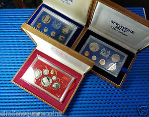 1973, 1974 & 1975 Singapore Uncirculated Proof Coin Set (Lot of 3 Sets)