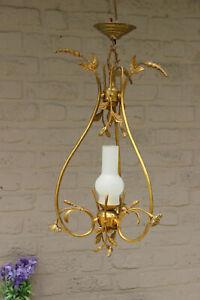 French-Brass-opaline-glass-Chandelier-pendant-lamp-floral-decor-1950