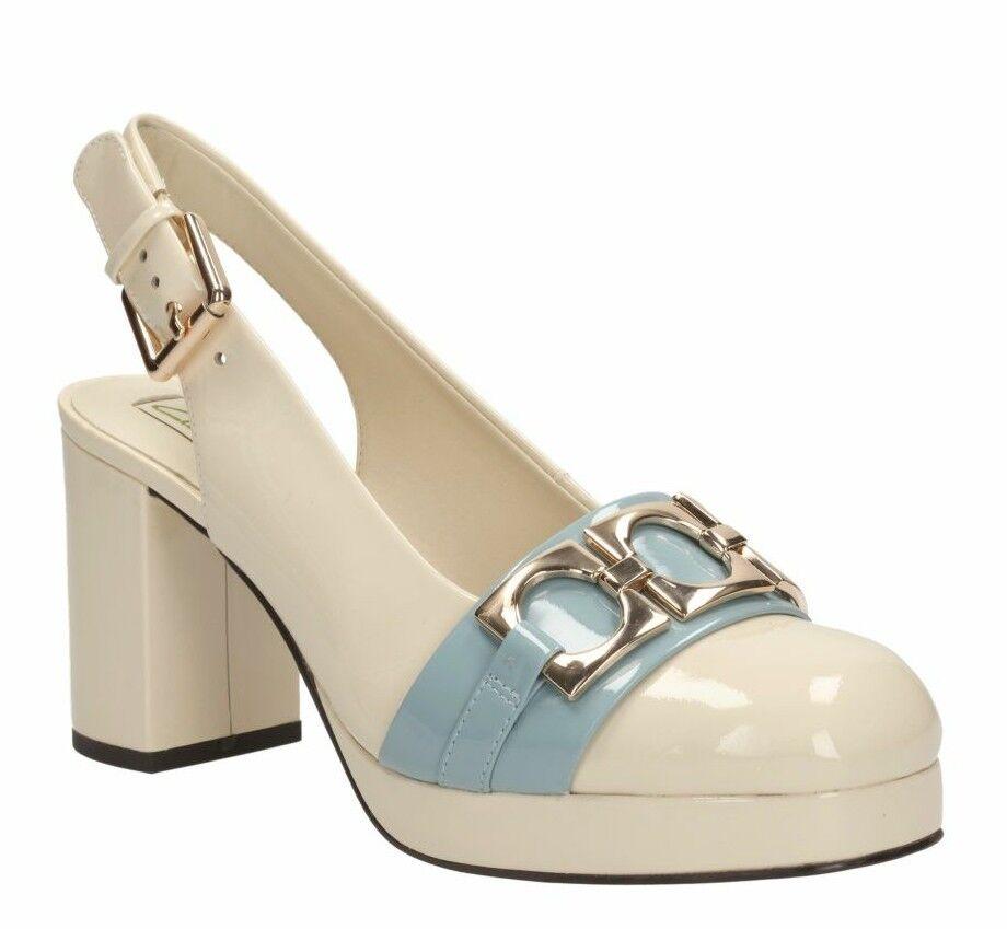 Orla Kiely Beatrice BLU PELLE piattaforma Sling indietro sandalo da donna Taglia 8 US 10