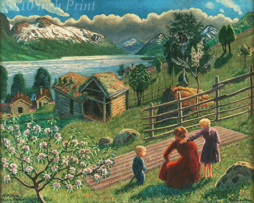 Trees Garden  8x10 Print 1459 Farm Mother and Her Children by Nicolai Astrup