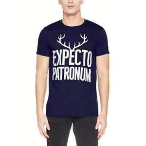 Officiel-Sous-Licence-HARRY-POTTER-Spero-patronum-Bois-Tee-shirt-homme-bleu-marine