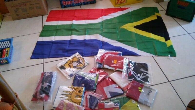 South Africa flag with world flags surround