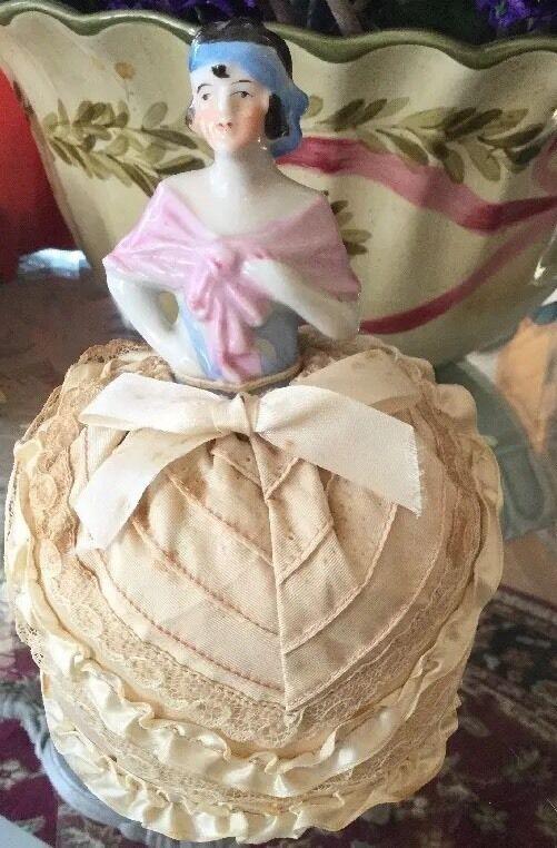 Flapper Antique Half Doll Pincushion
