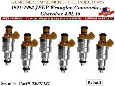LIFETIME WARRANTY Genuine Siemens OEM Set Of 6 Fuel Injectors for Jeep 4.0L
