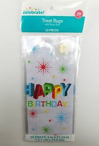 Details About 20 Colorful Hy Birthday Cellophane Treat Bags With Chrome Twist Ties 5 X 11